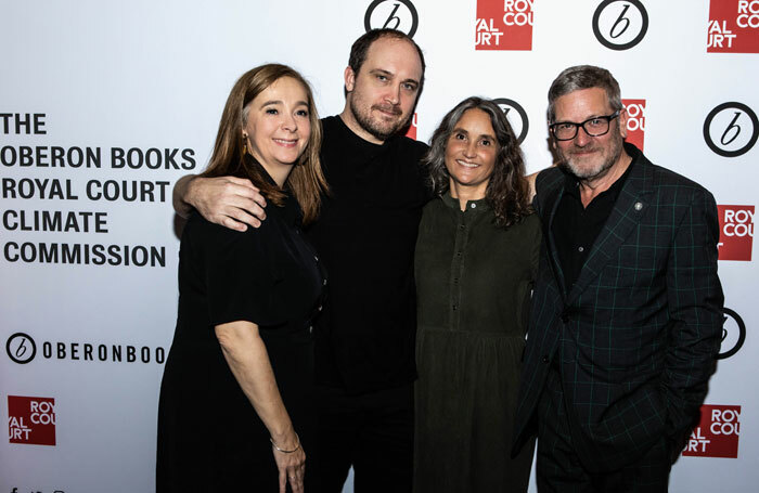 Chris Thorpe, second left, with Vicky Featherstone, Lucy Davies and Chris Campbell. Photo: Ali Wright