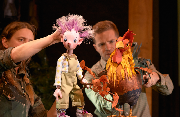 The cast of The Pixie and the Pudding at Little Angel Theatre, London