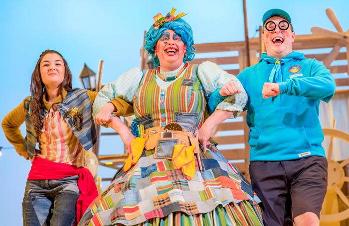 Rehanna MacDonald, Barrie Hunter and Ewan Somers in Perth Theatre's Sinbad. Photo: Mihaela Bodlovic