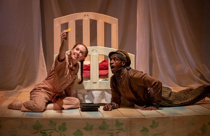 Vanessa Schofield and Baker Mukasa in Peter Pan at Hull Truck Theatre