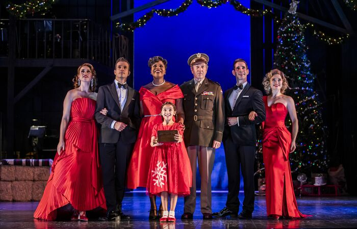 Danielle Hope, Danny Mac, Brenda Edwards, Michael Brandon, Dan Burton and Clare Halse  in White Christmas  at the Dominion Theatre. Photo: Tristram Kenton