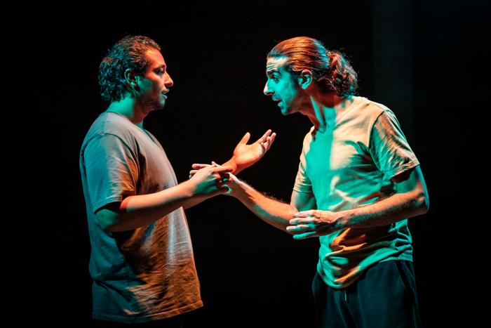 Irfan Shamji and Scott Karim in The Arrival at Bush Theatre, London.  Photo: Marc Brenner