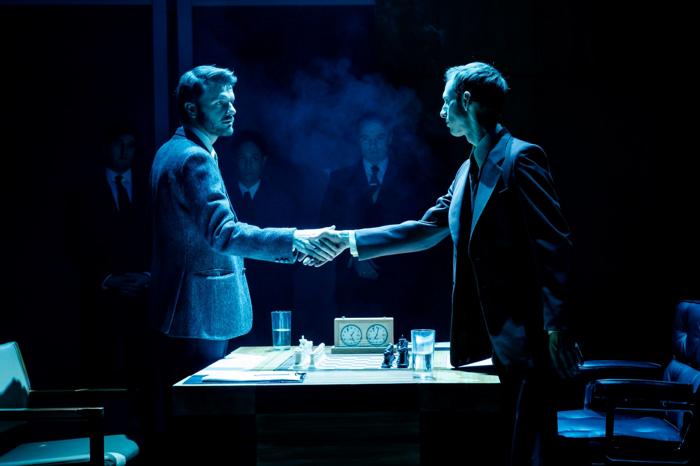 Ronan Raftery and Robert Elms in Ravens: Spassky vs Fischer at Hampstead Theatre, London. Photo: Manuel Harlan