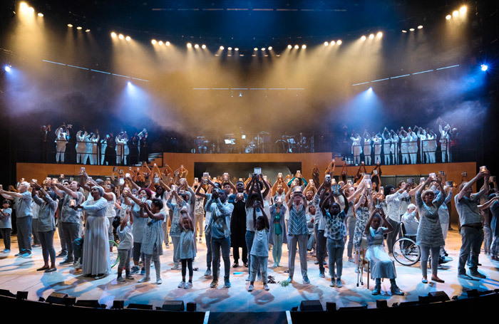 The cast of Pericles at the National Theatre, London, in 2018 – the production was part of the venue's Public Acts initiative, and involved more than 200 non-professional performers joining a small cast of professional actors. Photo: James Bellorini