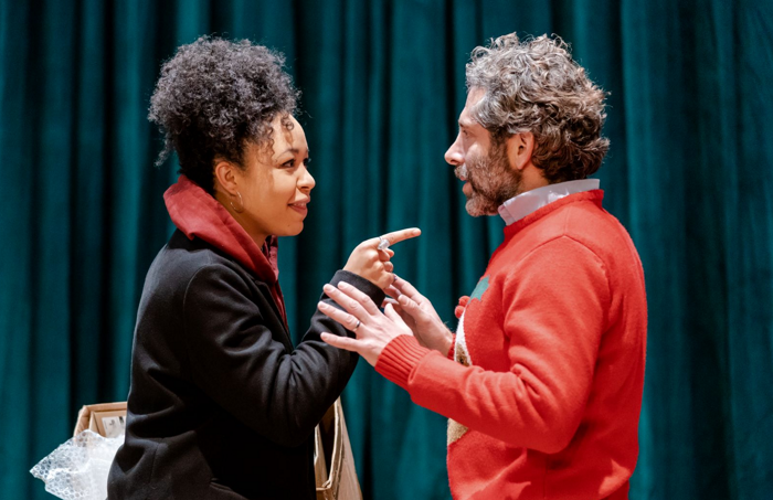 Amber James and Elliot Levey in Snowflake at Kiln Theatre. Photo: Manuel Harlan