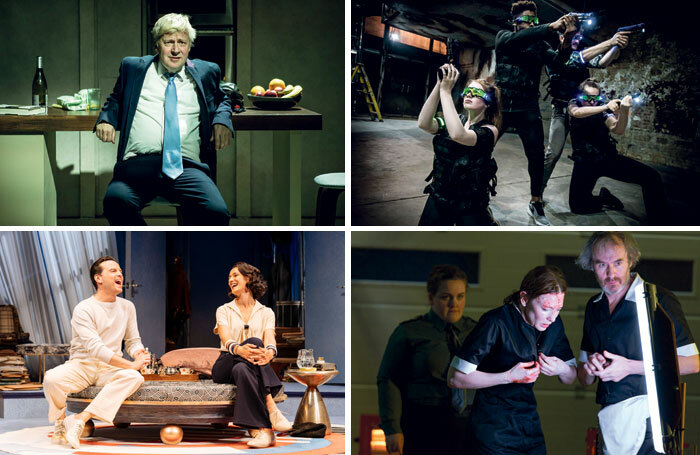 From top left: The Last Temptation of Boris Johnson at London's Park Theatre; Variant 31 at Space 18, London; When We Have Sufficiently Tortured Each Other at London's National Theatre; Present Laughter at London's Old Vic. Photos: Pamela Raith, Tom Grace, Stephen Cummiskey, Manuel Harlan