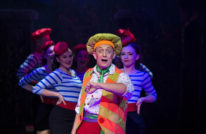Jon Monie and the ensemble in Beauty and the Beast at Theatre Royal Bath. Photo: Freia Turland