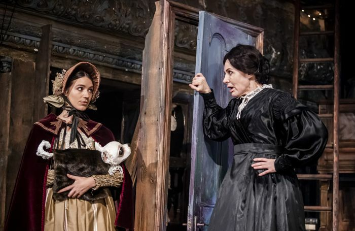 Ruth Ollman (Frederica) and Sally Dexter in Christmas Carol - A Fairy Tale at Wilton's Music Hall. Photo: Tristram Kenton
