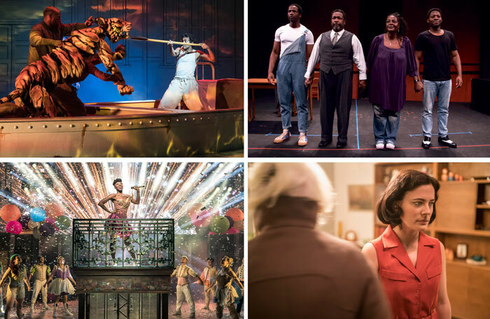 Clockwise from top left: Sheffield Theatres' Life of Pi, the cast of Death of a Salesman at the Young Vic scratch performance, Phoebe Fox in Anna at the National Theatre and Miriam-Teak Lee in & Juliet. Photos (except Death of Salesman): Johan Persson
