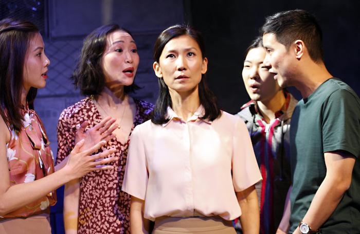 Crystal Yu, Momo Yeung, Chuja Seo, Jessie Baek and Jon Chew in WIld Goose Dreams at the Ustinov Studio. Photo: Simon Annand