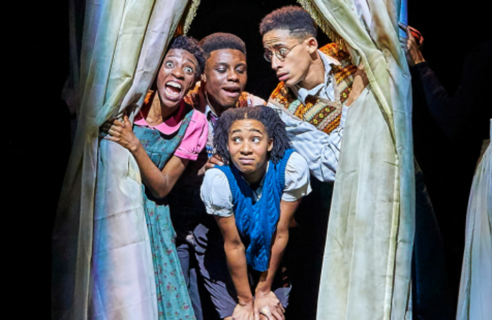 Keziah Joseph, Femi Akinfolarin, Shalisa James-Davis and John Leader in The Lion, the Witch and the Wardrobe. Photo: Brinkhoff Moegenburg