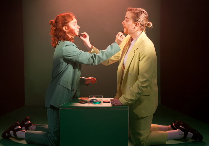 Mary Higgins and Ell Potter in Fitter at Soho Theatre, London. Photo: Holly Revell