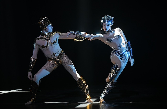 Edward Watson and Olga Smirnova in McGregor and Mugler at the Coliseum. Photo: Sasha Gusov
