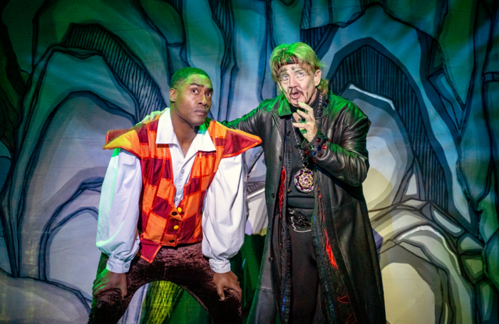 Simon Webbe and Robin Askwith in Aladdin at Hull New Theatre