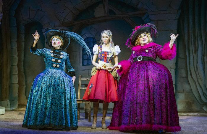 Wayne Sleep, Charlotte Kennedy and Matt Crosby in Cinderella at Cambridge Arts Theatre. Photo: Richard Hubert Smith