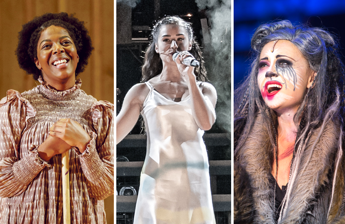 T'Shan Williams in The Color Purple, Samantha Pauly in Evita and Emma Hatton in Cats. Photos: Manuel Harlan/Marc Brenner