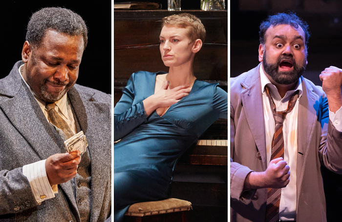 Wendell Pierce in Death of a Salesman, Heledd Gwynn in Hedda Gabler and Tony Jayawardena in Hobson's Choice. Photos: Brinkhoff Mogenburg/Mark Douet/Marc Brenner
