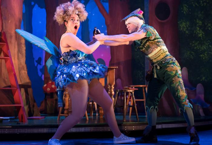 Phoebe Ellabani and Ciaran Kellgren in Peter Pan Goes Wrong. Photo: Alastair Muir