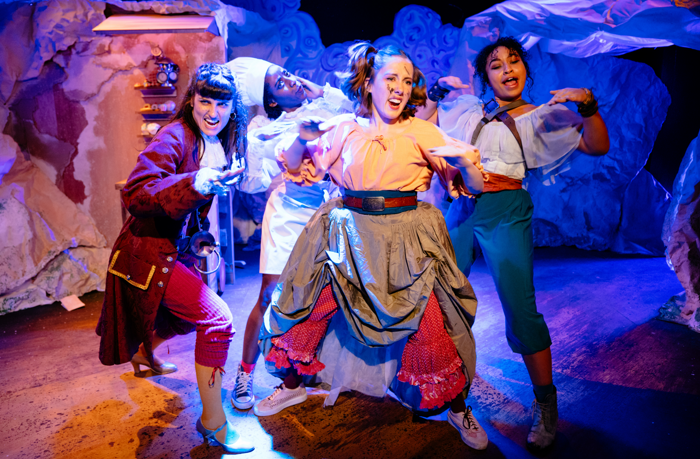 Louise Beresford, Helena Morais, Anna Spearpoint, Anais Lone in The Fairytale Revolution: Wendy's Awfully Big Adventure at Theatre503. Photo: Helen Murray
