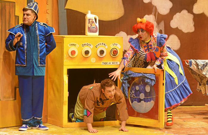Charlie Guest, Chris Pizzey and Nic Gibney in Aladdin at Anvil Arts, Basingstoke. Photo: Sean Dillow