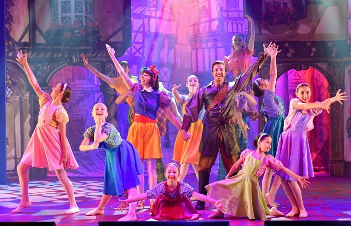 The cast of Snow White and the Seven Dwarfs at the Swan Theatre, Worcester