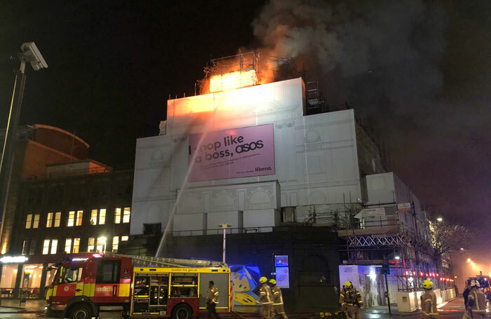 The blaze at live music venue, Koko in Camden. Photo: Oliver Cooper