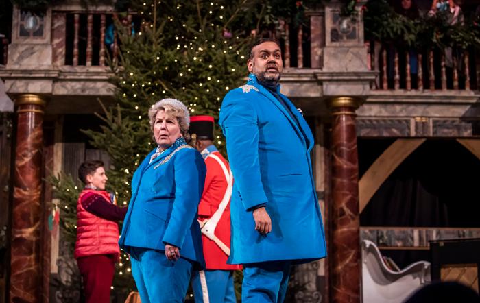Sandi Toksvig and Tony Jayawardena in Christmas at the Snow Globe at Shakespeare's Globe. Photo: Tristram Kenton