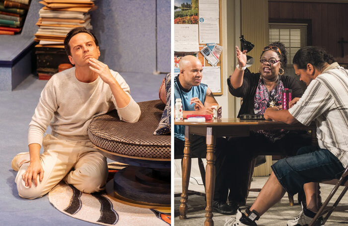 Andrew Scott in Present Laughter at the Old Vic, left (photo: Manuel Harlan) and Cecilia Noble in Downstate