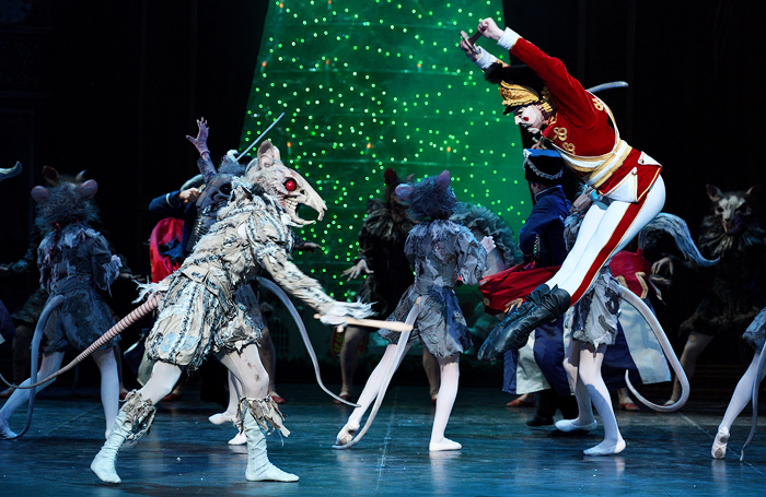 Daniel Kraus and Skyler-Martin in The Nutcracker at London Coliseum. Photo: Laurent Liotardo