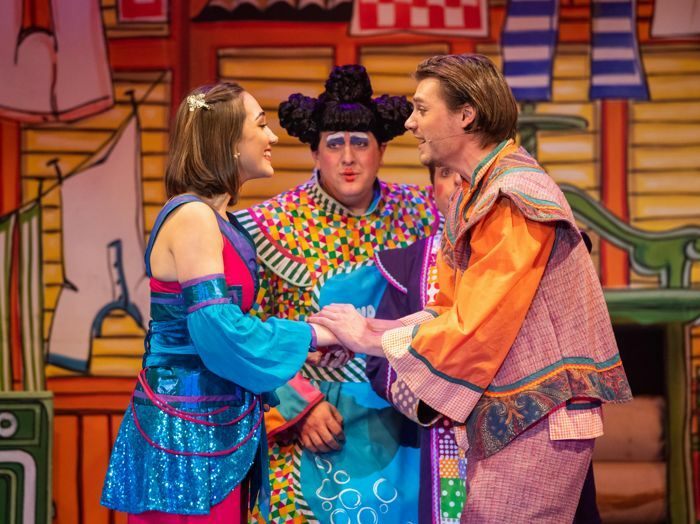 Esme Rothero, Ben Eagle and James Squire in Aladdin at the Roses Theatre