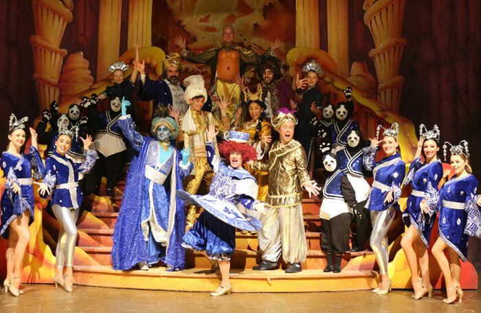 The cast of Aladdin at the Alhambra Theatre, Dunfermline