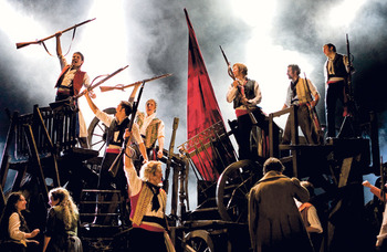 Fire on stage interrupts Les Mis performance