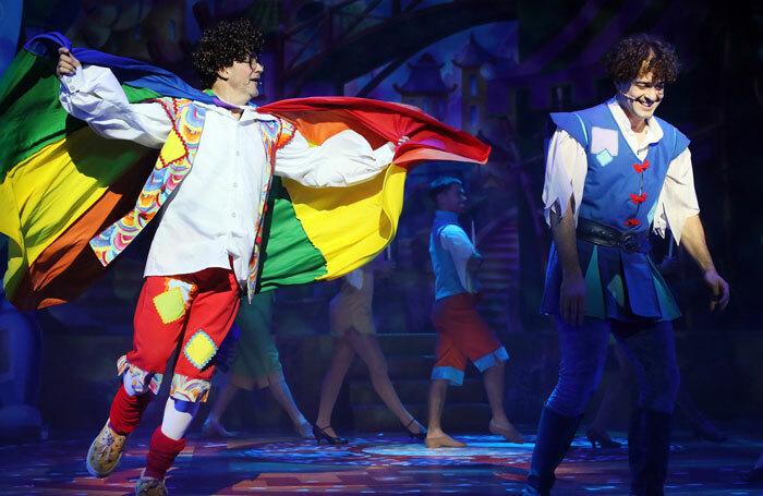 Joe Pasquale and Lee Mead in Aladdin at Milton Keynes Theatre. Photo: Barry Rivett
