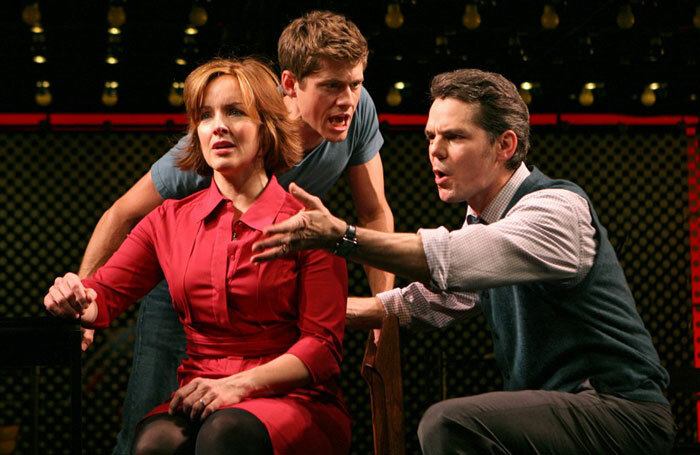 Alice Ripley, Aaron Tveit and J Robert Spencer in Next to Normal at the Booth Theatre on Broadway in 2009. Photo: Joan Marcus