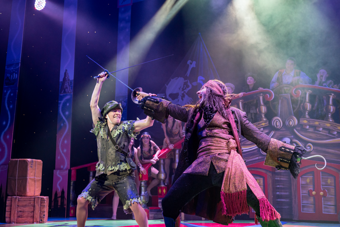 Joshua Wyatt and Stefan Pejic in Peter Pan at Lyceum Theatre, Crewe. Photo: Wes Webster
