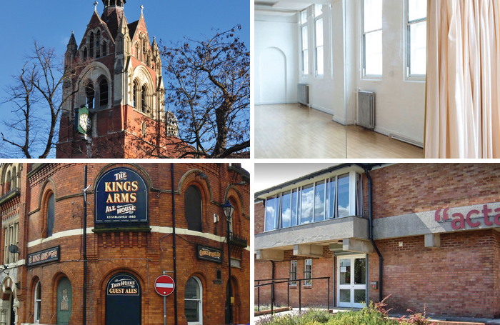 Clockwise from top left: Union Chapel, Jerwood Space, Acta Centre and the King's Arms in Salford