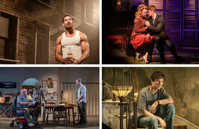 From top left: Aaron Pierre in King Hedley II at Theatre Royal Stratford East, London; Kelly Price and Felix Mosse in Aspects of Love at Southwark Playhouse, London; Charles Furness in Appropriate at London's Donmar Warehouse; the cast of Downstate at London's National Theatre. Photos: Richard Daven