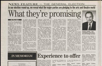 Election promises – How The Stage covered the run-up to the general election in 1997