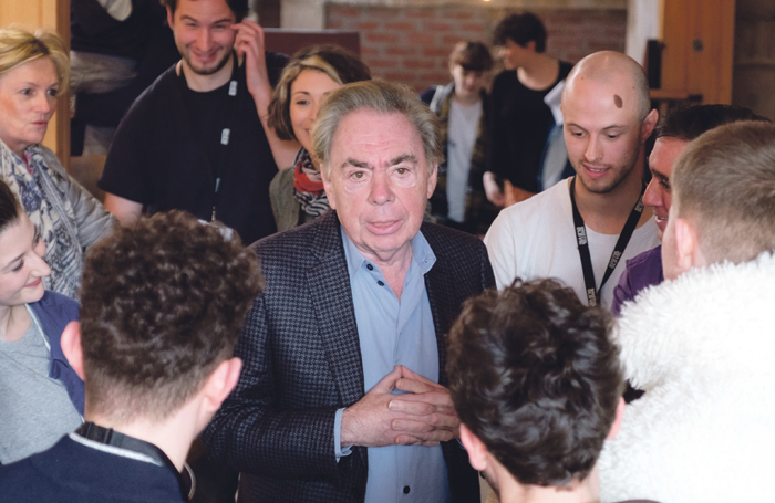 Andrew Lloyd Webber visiting Bristol Old Vic Theatre School last year. Photo: Jon Craig