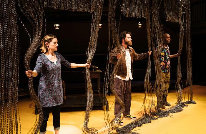 Hara Yannas, Daniel Abelson and Fiston Barek in Amsterdam at the Orange Tree Theatre, London. Photo: Helen Murray