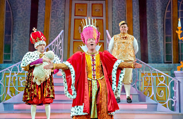Jack Lansbury, Martin Barrass and Howie Michaels in Sleeping Beauty at York Theatre Royal. Photo: Robling Photography