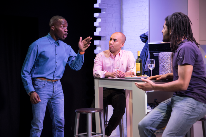 Ashley Byam, Keeran Blessie, Declan Spaine in Four Play at Above the Stag, London. Photo: PBG Studios