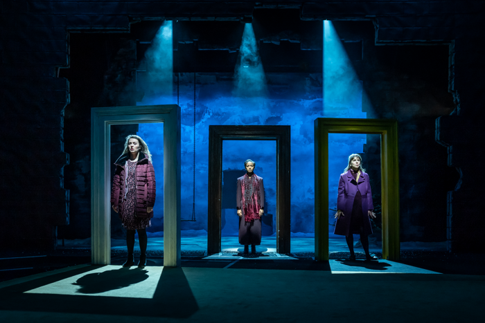 Anna Russell-Martin, Amaka Okafor and Natalie Klamar in Nora:  A Doll's House at the Young Vic in London. Photo: Marc Brenner