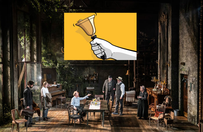 Cast of Uncle Vanya at the Harold Pinter Theatre, London (photo: Johan Persson), with artist's impression of the 'handbell moment' (credit: Shutterstock)