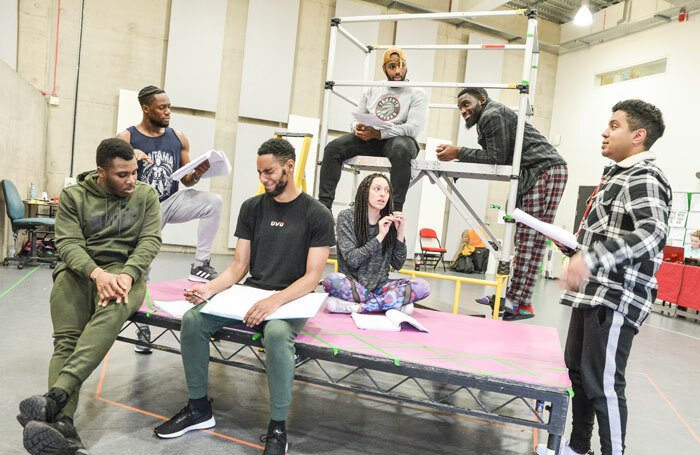 The cast of Pilot Theatre's Crongton Knights in rehearsal. Photo: Robert Day