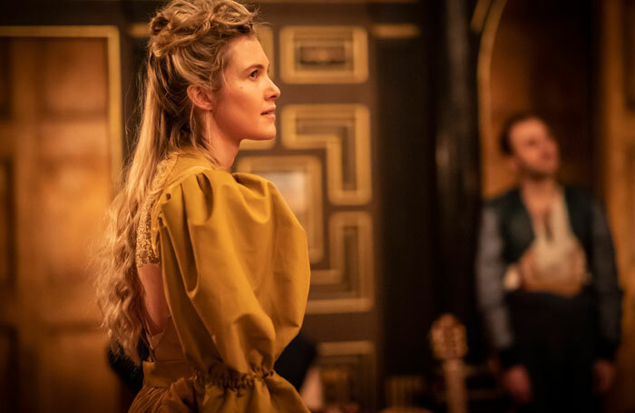 Melissa Riggall in The Taming of the Shrew at the Sam Wanamaker Playhouse. Photo: Johan Persson