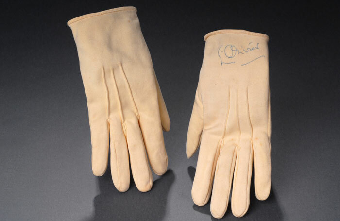 Gloves worn and signed by Laurence Olivier in London's Royal Court production of The Entertainer, 1957. Photo: University of Bristol Theatre Collection
