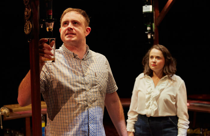 Jimmy Fairhurst and Samantha Robinson in Two at the New Vic Theatre, Newcastle-under-Lyme. Photo: Mark Douet