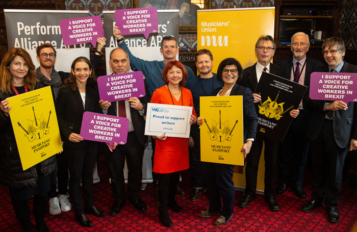 MPs peers and entertainment union members at the parliamentary briefing. Photo: Mark Thomas