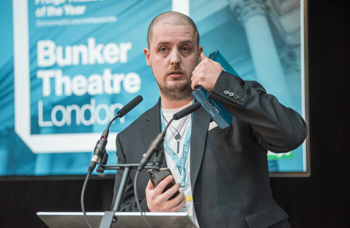 Bunker Theatre artistic director Chris Sonnex at The Stage Awards 2020. Photo: David Monteith-Hodge